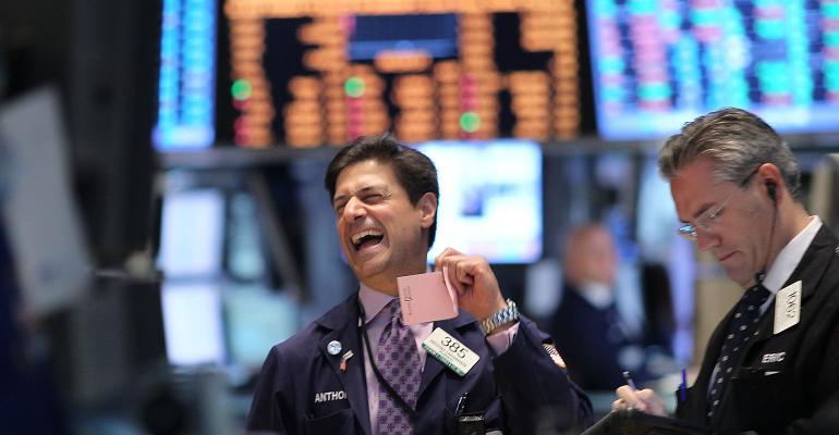 stock market trader laughing