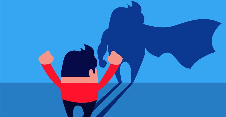 businessman superhero cape