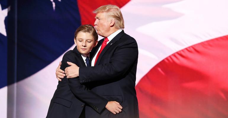 Donald Trump Barron Trump hug