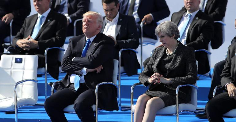 Trump Theresa May NATO