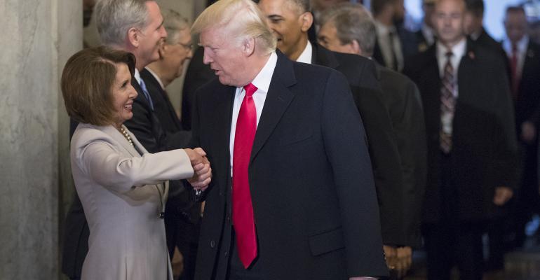 Donald Trump Nancy Pelosi shaking hands