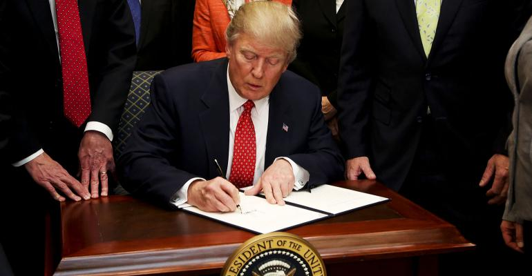 Donald Trump signing executive order