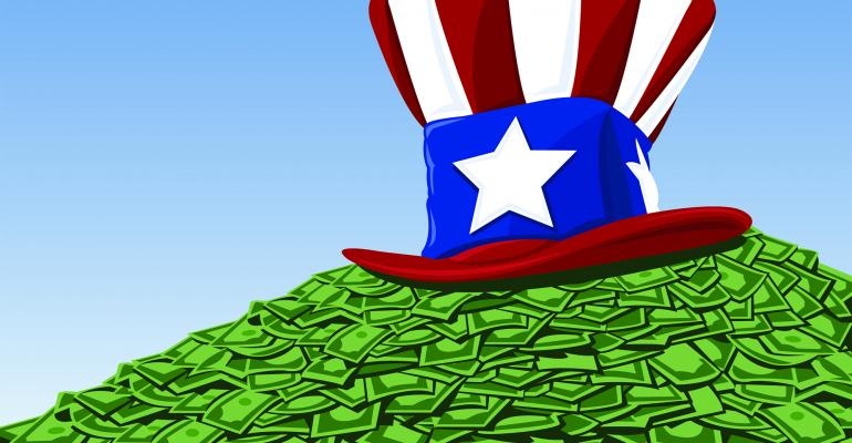 Uncle Sam hat money pile