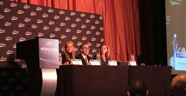 FINRArsquos Susan Axelrod Merrill Lynchrsquos Evan Charkes and LPL Financialrsquos Sarah Gill participate in a regulatory panel at SIFMArsquos annual Private Client Conference on Thursday
