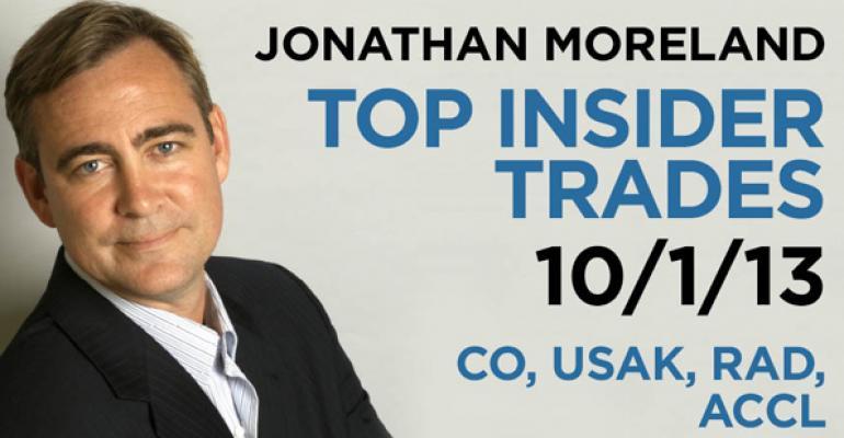 Top Insider Trades 10/1/13: CO, USAK, RAD, ACCL