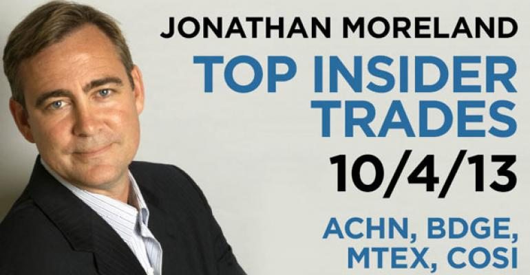 Top Insider Trades 10/4/13: ACHN, BDGE, MTEX, COSI