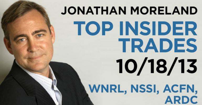 Top Insider Trades 10/18/13: WNRL, NSSI, ACFN, ARDC