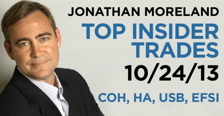 Top Insider Trades 10/24/13: COH, HA, USB, EFSI