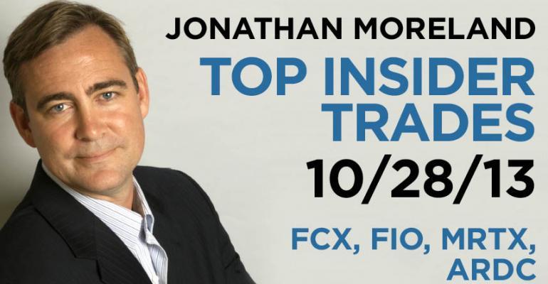 Top Insider Trades 10/28/13: FCX, FIO, MRTX, ARDC
