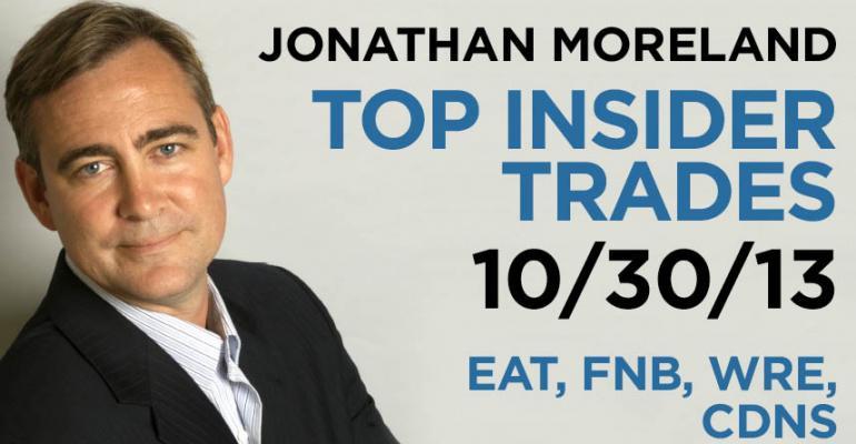 Top Insider Trades 10/30/13: EAT, FNB, WRE, CDNS