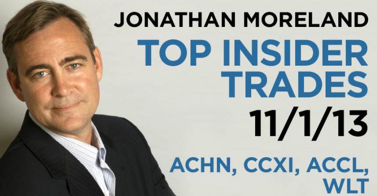Top Insider Trades 11/1/13: ACHN, CCXI, ACCL, WLT