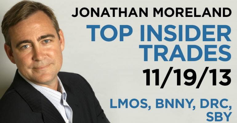 Top Insider Trades 11/19/13: LMOS, BNNY, DRC, SBY