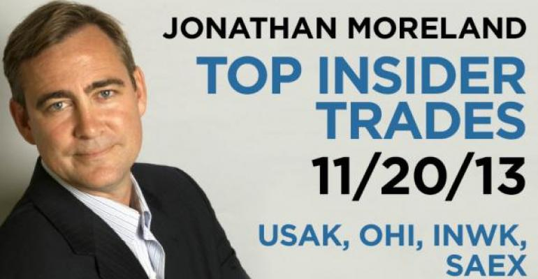 Top Insider Trades 11/20/13: USAK, OHI, INWK, SAEX