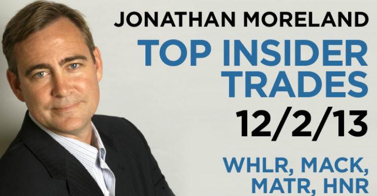 Top Insider Trades 12/2/13: WHLR, MACK, MATR, HNR