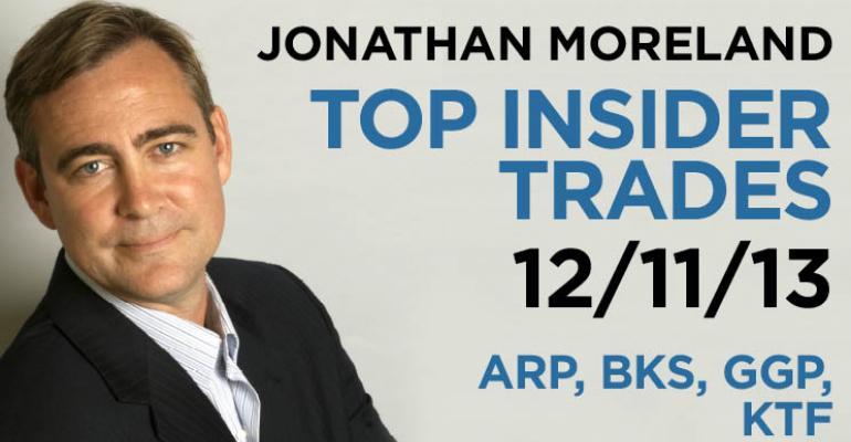 Top Insider Trades 12/11/13: ARP, BKS, GGP, KTF