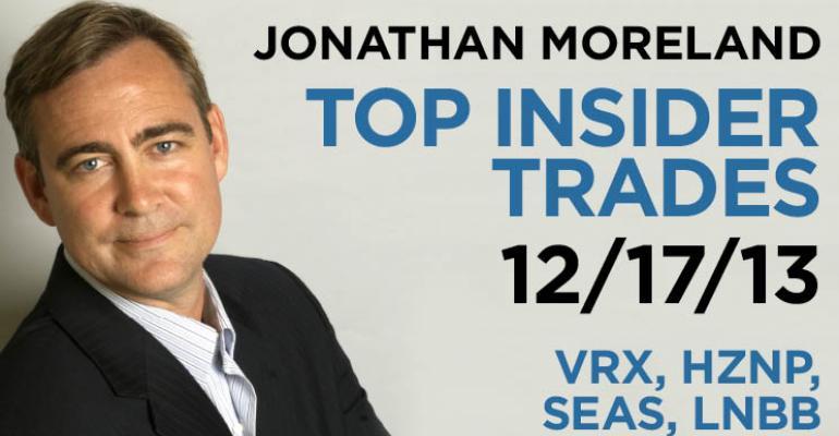 Top Insider Trades 12/17/13: VRX, HZNP, SEAS, LNBB