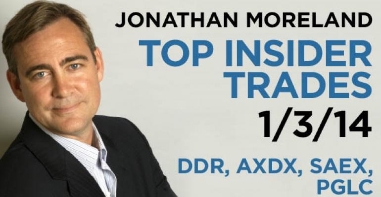 Top Insider Trades 1/3/14: DDR, AXDX, SAEX, PGLC