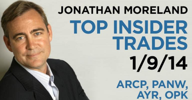 Top Insider Trades 1/9/14: ARCP, PANW, AYR, OPK