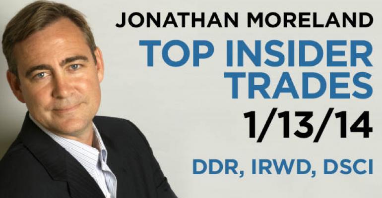 Top Insider Trades 1/13/14: DDR, IRWD, DSCI
