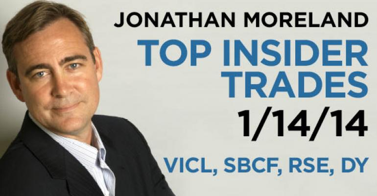 Top Insider Trades 1/14/14: VICL, SBCF, RSE, DY