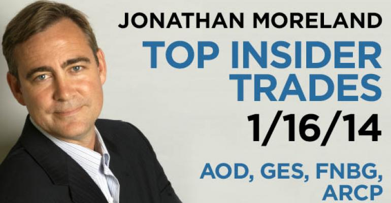 Top Insider Trades 1/16/14: AOD, GES, FNBG, ARCP