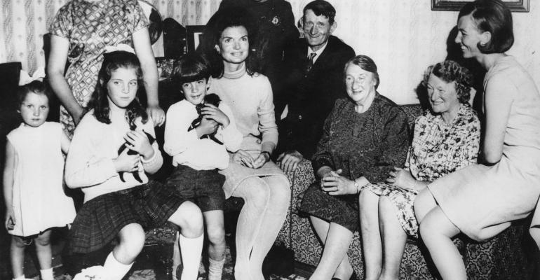 Jacqueline Kennedy 1929  1994 with her children Caroline and John in the living room of the Kennedy ancestral home at Dunganstown County Wexford during a family holiday in Ireland June 29 1967