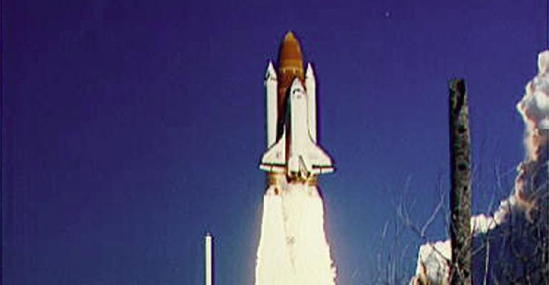 The Space Shuttle Challenger lifts off January 28 1986 from Kennedy Space Center Florida  The Challenger and its seven member crew were lost seventy three seconds after launch when a booster rocket failed