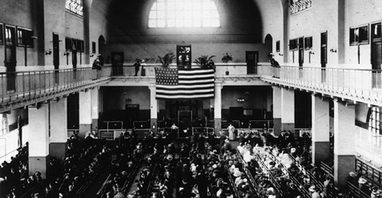 Registry Hall on Ellis Island 1905