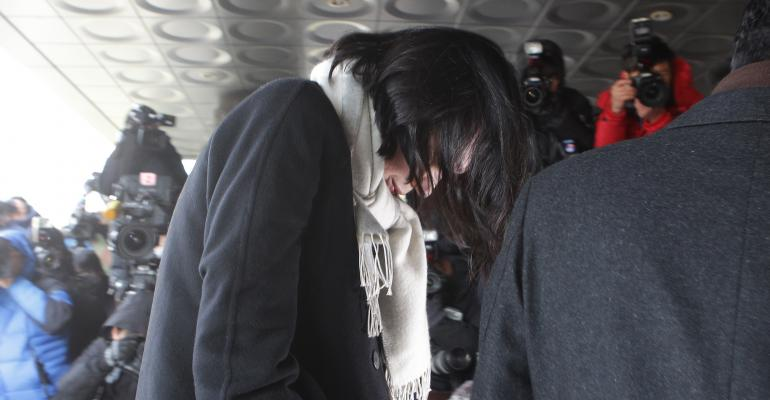 Former Korean Air Lines Co VP Heather Cho arrives at the Seoul western prosecutors39 office on December 17 2014 in Seoul South Korea