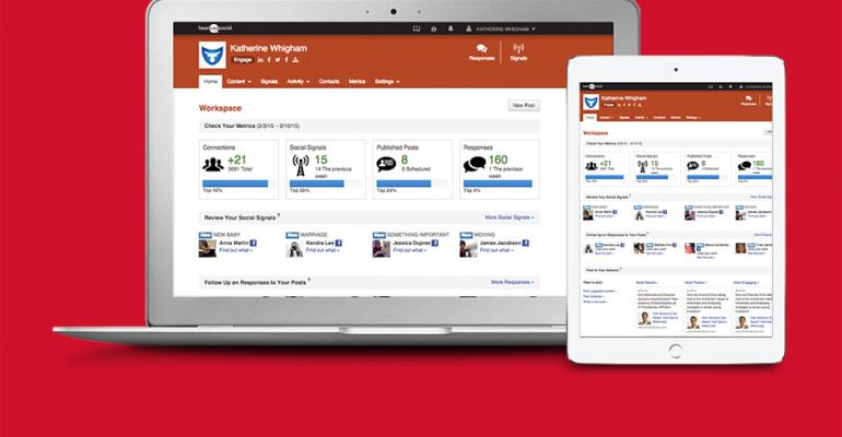 View of the advisor dashboard interface within Hearsay Social39s new Predictive Social Suite