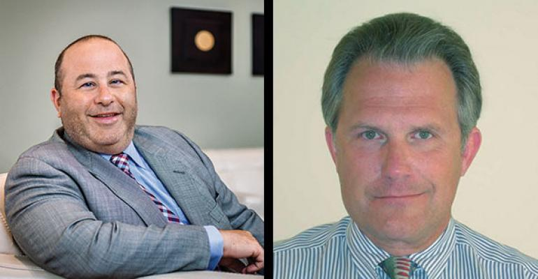 Brian Hamburger left and Knut Rostad are the two remaining contenders in the Thought Leaders category of the Wealth Management Madness 2015 bracket tournament