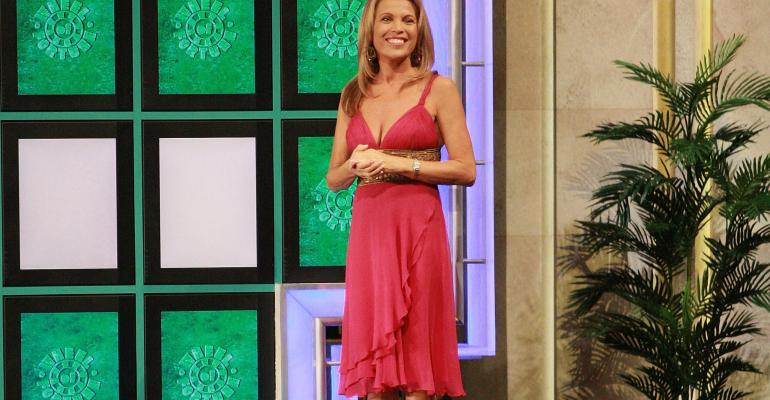 Cohost Vanna White greets the contestants during a taping of Wheel Of Fortune Celebrity Week