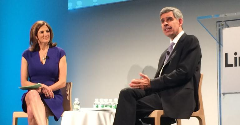 Mohamed ElErian on stage with Jill Schlesinger business analyst for CBS News at the LinkedIn39s FinanceConnect conference