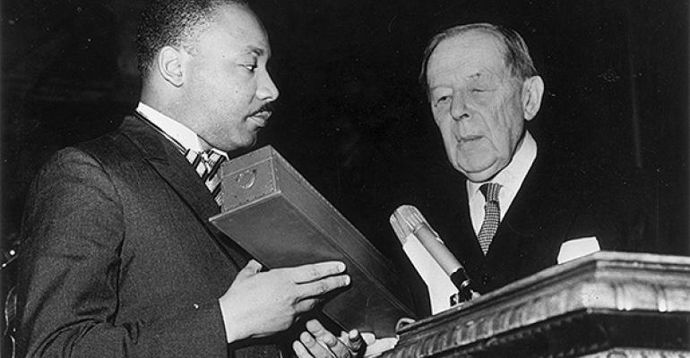 The Rev Martin Luther King Jr receiving his Nobel Prize in 1964