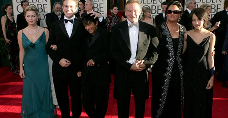 Robin Williams and wife Marsha Garces Williams sons Cody Zachary with girlfriend Alex daughter Zelda at the Golden Globes Awards in 2005