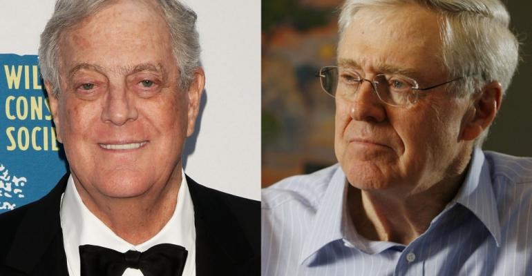 David left and Charles Koch