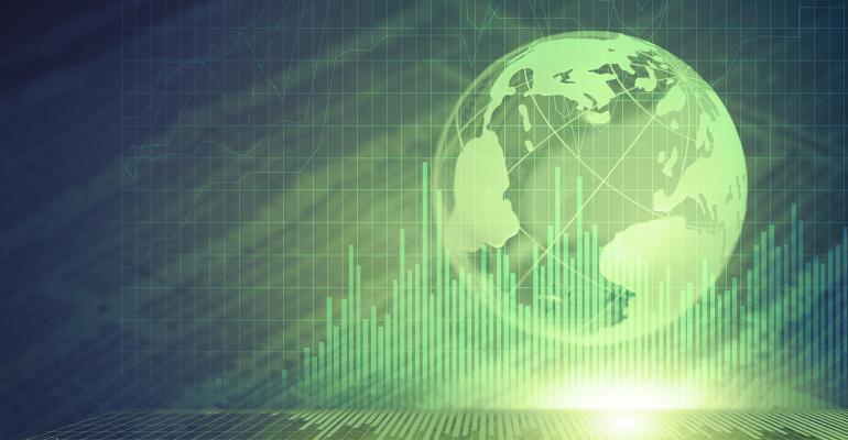 green globe bar graph