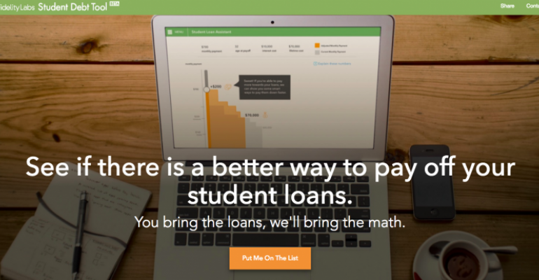 Fidelity Labs Cooks Up Student Loan Repayment Tool