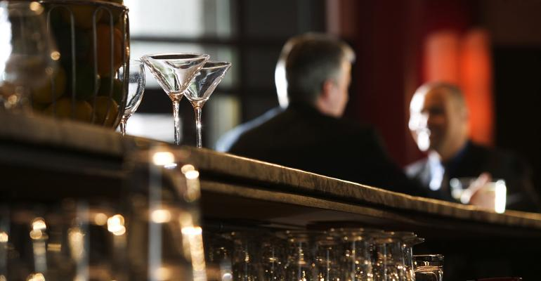 glasses on bar