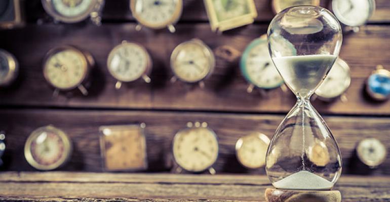 hourglass and clocks