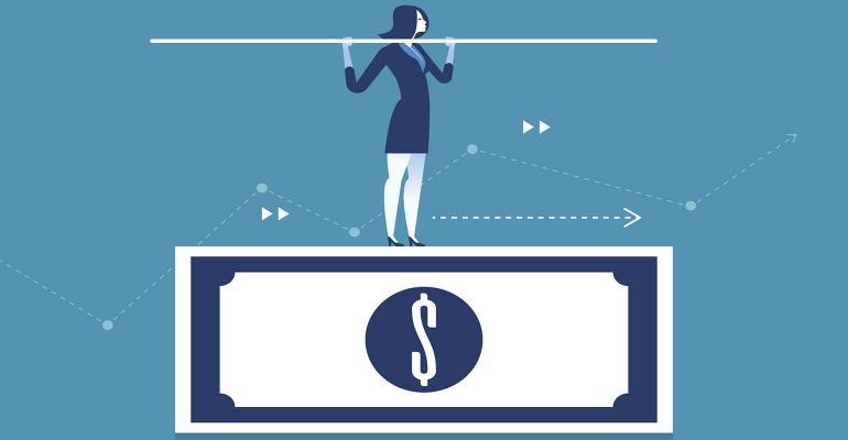 woman balancing money