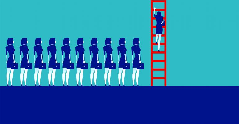 women climbing ladder