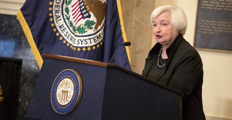 Janet Yellen Federal Reserve flag