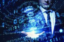 digital ones zeros businessman hand
