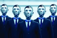 robot businessmen in suits