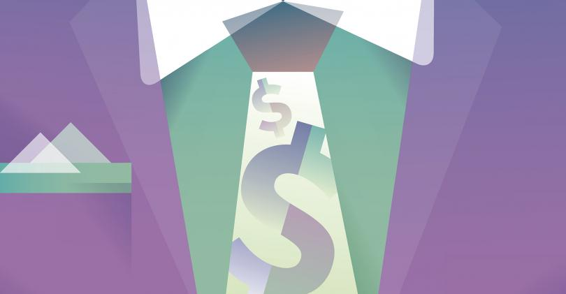 businessman dollar sign tie