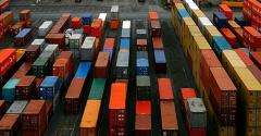 Ship freight containers at Tilbury Port in England