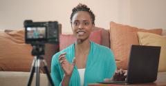 black woman home video setup
