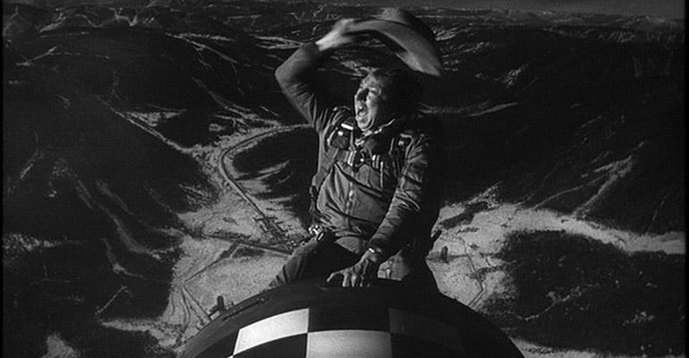 Slim Pickens riding the bomb