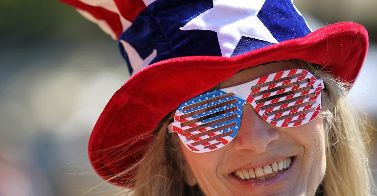 American flag glasses hat woman